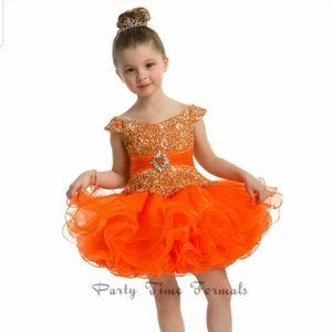 Perfect Angels Orange glitz cupcake dress 1T $380